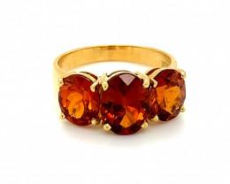 Spessartine Garnet 7.00ct Solid 18K Yellow Gold Multistone Ring     Size 8