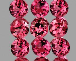 3.00 mm Round 9 pcs 1.10cts Orange Pink Tourmaline [VVS]