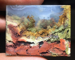 35.20 CT GORGEOUS MOSS AGATE GARDEN PICTURE FROM INDONESIA