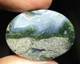38.90 CT THE BEST MOUNTAIN CLIFF PICTURE MOSS AGATE FROM INDONESIA