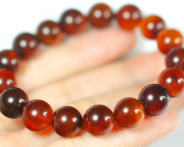 Natural Blood Red Amber Round Beads Bracelet