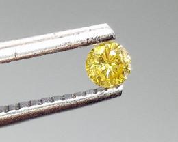 0.13ct Fancy Vivid Yellow  Diamond , 100% Natural Untreated