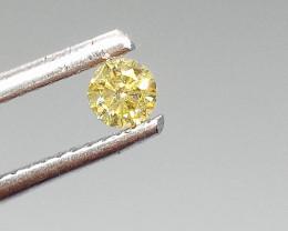0.14ct  Fancy Vivid Green Yellow Diamond , 100% Natural Untreated