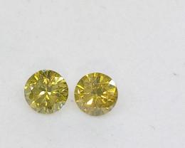 0.21ct Fancy Vivid Yellow Green   Diamond Pair, 100% Natural Untreated