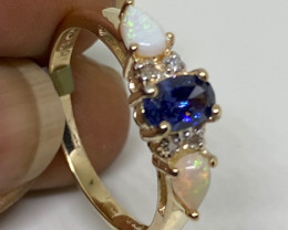 (LBA/12) Nat 1.00 tcw Designer 10K Solid Gold Tanzanite, Opal and Diamond R