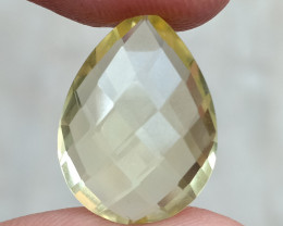 LEMON QUARTZ CHECKERED CUT NATURAL GEMSTONE VA741