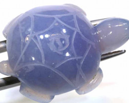 34.25 cts- CHALCEDONY  TURTLE CARVING   LT-303