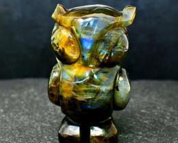 Genuine 538.00 Cts Green Flash Labradorite Owl