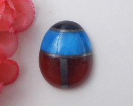 32.5cts Red Agate,hematite,obsidian,onyx intarsia cabochon F410