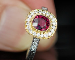 1.61CT UNHEATED RUBY & DIAMOND 18k 2-TONE ENGRAVED RING $1NR!