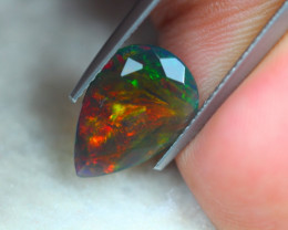 1.66ct Natural Ethiopian Welo Solid Black Smoked Faceted Opal Lot V6400