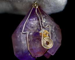 116.35 CT Natural - Unheated Purple Amethyst  Crystal Rapping Pendant