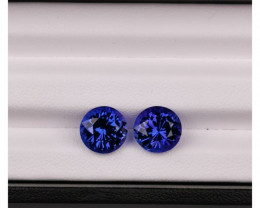 Tanzanite 2 gemstone blue purple 8.8 mm each 2.87ct each loop clean vvs cla