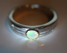 Opal .55ct Platinum Finish Solid 925 Sterling Silver Ring     Size 10