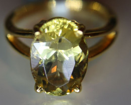Scapolite 6.10ct Solid 18K Yellow Gold Solitaire Ring       Size 6.75