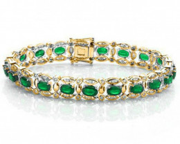 9.00 CT EMERALD & 1.50 CT DIAMOND: 14KT SOLID GOLD BRACELET