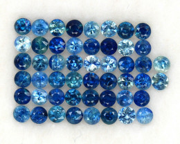 4.02 ct. 2.5 mm. DIAMOND CUT MULIT COLOR SAPPHIRE NATURAL GEMSTONE 51PCS.