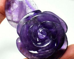 Genuine 520.00 Cts Purple Amethyst Carved Rose
