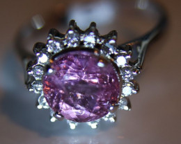 Tajik Spinel 3.20ct Natural Diamonds Solid 18K White Gold Halo Ring     Siz