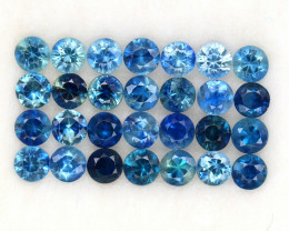 4.02 ct. 3.1 MM. DIAMOND CUT MULTI COLOR SAPPHIRE NATURAL GEMSTONE 28PCS.