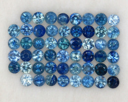 4.0 ct. 2.5 MM. DIAMOND CUT MULTI COLOR SAPPHIRE NATURAL GEMSTONE 52PCS.