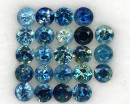4.12 ct. 3.3 MM. DIAMOND CUT MULTI COLOR SAPPHIRE NATURAL GEMSTONE 23PCS.