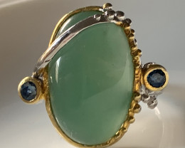 Stylish Green Prehnite Cabochon gem Sapphire Ring Size 9