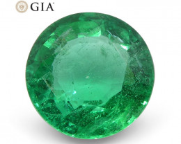1.28 ct Round Emerald GIA Certified Zambian F1/Minor