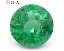 1.04 ct Round Emerald GIA Certified Zambian