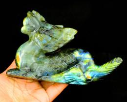 Genuine 1873.00 Cts Amazing Flash Labradorite Dragon