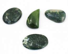 Genuine  56.00 Cts Moss Agate Cabochon Lot