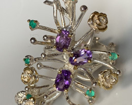 'Bracken' Emerald Amethyst Gold and Silver Ring Size 9