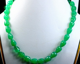 274.90 CT Natural ~ UnheatedGreen Onyx Carved Beads Necklaces Special