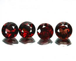 6.30 Cts Natural Deep Red Rhodolite Garnet 7mm Round Cut Mozambique