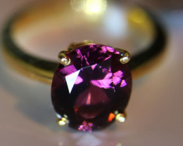 Purple Tourmaline 3.38ct Solid 22K Yellow Gold Solitaire Ring       Size 5.