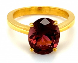 Red Tourmaline 3.38ct Solid 22K Yellow Gold Solitaire Ring       Size 5.