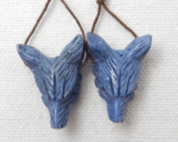 40.5cts 2pcs Hand Carved Wolf Pendant ,Blue Coral Wolf ,Wolf Head Pendant F
