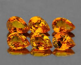 4.5x3.5 mm Pear 6pcs 1.25cts Yellow Sapphire [VVS]