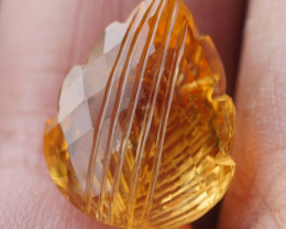 9.750CRT BEAUTY YELLOW CITRINE LEAF MOTIF CRAFT -
