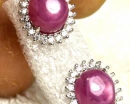 19.0 Tcw. Ruby Sterling Silver Earrings - Gorgeous