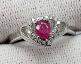 13.55CT NATURAL RUBY 925 SILVER RING  BEST QUALITY GEMSTONE IIGC03