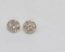 0.19ct  Fancy White  Diamond Pair, 100% Natural Untreated