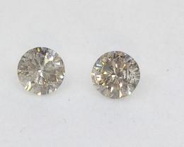 0.28ct  White  Diamond Pair, 100% Natural Untreated