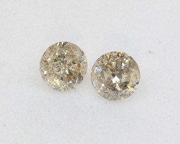 0.34ct  Light Brown  Diamond Pair, 100% Natural Untreated