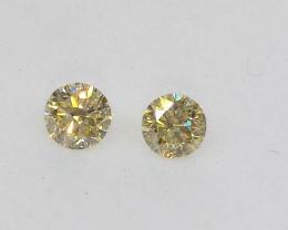 0.205ct  Fancy Light Yellow Diamond Pair, 100% Natural Untreated