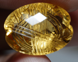 14.135CRT BEAUTY CHECKERCOARD CUT YELLOW CITRINE -