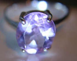 Amethyst 3.40ct Platinum Finish Solid 925 Sterling Silver Solitaire Ring