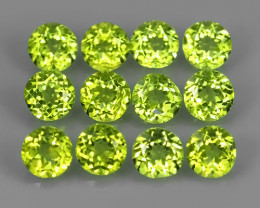 3.25 CTS BEAUTYFUL NATURAL PERIDOT ROUND PARCEL 12 PCS~EXCELLENT!