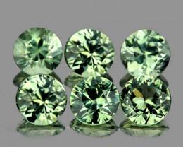 3.30 mm Round 6 pcs 1.12cts Green Sapphire [VVS]