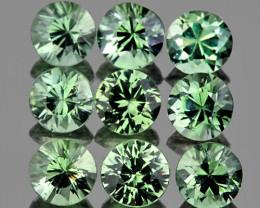 3.00 mm Round 9 pcs 1.33cts Green Sapphire [VVS]